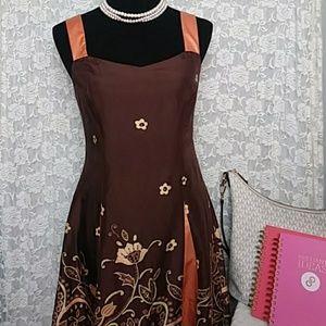 Adrianna Papell Floral 100% Silk Sun Dress Size 4